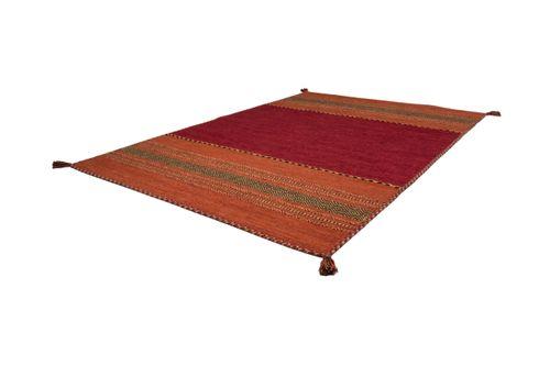 Teppich Handgewebt 100% Baumwolle Teppiche Flachflor Antik-Look Streifen Rot Wohnzimmerteppich Esszimmerteppich Teppichläufer Flur-Läufer Verschied. Farben 001