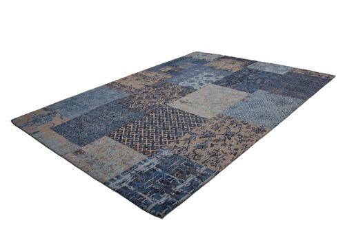Teppich Retro Patchwork Look Teppiche Jacquard Kasten Design Blau Wohnzimmerteppich Esszimmerteppich Teppichläufer Flur-Läufer Verschied. Farben 004