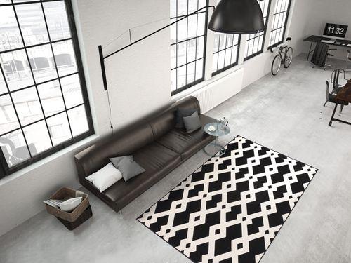 Teppich Modern Flachflor Geometr. Muster Teppiche 3D-Effekt Schwarz Weiß Wohnzimmerteppich Esszimmerteppich Teppichläufer Flur-Läufer Verschied. Farben 002