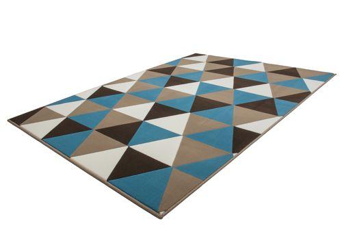 Teppich Modern Flachflor Geometr. Muster Dreieck 3D-Effekt Multi Türkis Wohnzimmerteppich Esszimmerteppich Teppichläufer Flur-Läufer Verschied. Farben 005
