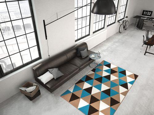 Teppich Modern Flachflor Geometr. Muster Dreieck 3D-Effekt Multi Türkis Wohnzimmerteppich Esszimmerteppich Teppichläufer Flur-Läufer Verschied. Farben 004