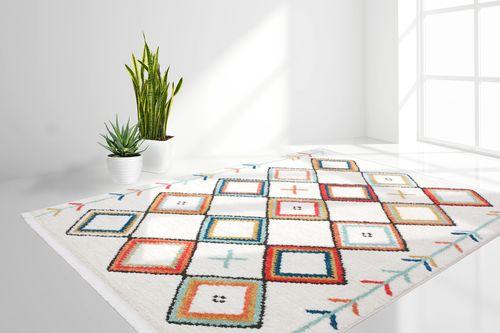 Flachflor Teppich Modern Fransenteppich Rautenmuster Azteken Musterteppich Multi Wohnzimmerteppich Esszimmerteppich Teppichläufer Flur-Läufer Verschied. Farben 002
