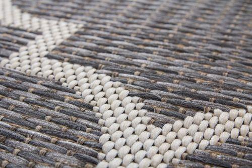Teppich Sisal Optik Indoor Outdoor Maroc Design Waben Muster Grau Wohnzimmerteppich Esszimmerteppich Teppichläufer Flur-Läufer Verschied. Farben 004