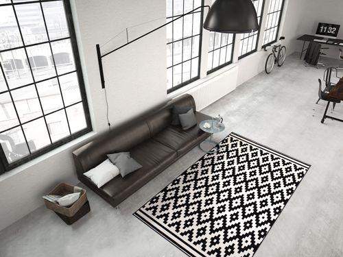 Teppich Flachflor Arabesque Scandic Design Modern Teppiche Schwarz Weiß Wohnzimmerteppich Esszimmerteppich Teppichläufer Flur-Läufer Verschied. Farben 001