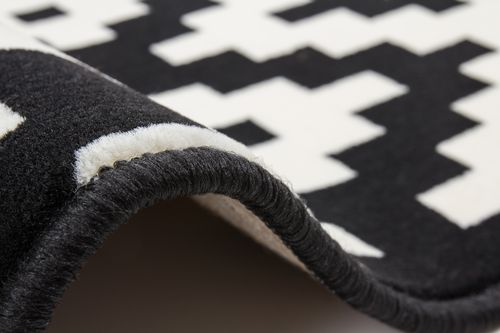 Teppich Flachflor Arabesque Scandic Design Modern Teppiche Schwarz Weiß Wohnzimmerteppich Esszimmerteppich Teppichläufer Flur-Läufer Verschied. Farben 005