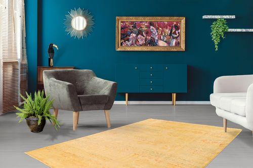 Teppich Modern Vintage Look Fransen Brush Used Optik Ornamente Oriental Gelb Wohnzimmerteppich Esszimmerteppich Teppichläufer Flur-Läufer Verschied. Farben 001