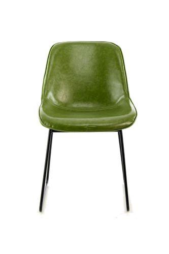 Stuhl Industrial Leder Look Schalenstuhl Retro Esszimmerstuhl Grün 2Er-Set 002