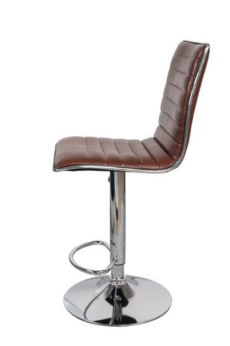 Barhocker Retro Look Leder Optik Mit Lehne Drehbar Chrome Braun Cognac 2Er-Set Bild 3