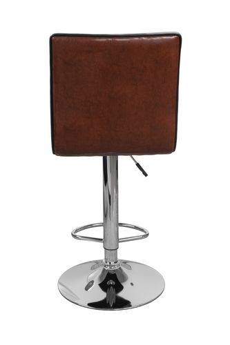 Barhocker Retro Look Leder Optik Mit Lehne Drehbar Chrome Braun Cognac 2Er-Set Bild 4