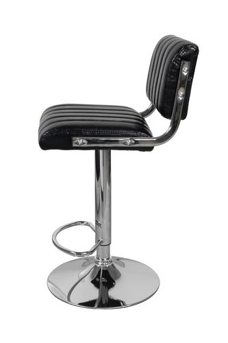 Retro Barhocker Mit Lehne Leder Optik Drehbar Chrome Schwarz 2Er-Set 003