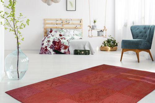 100% Baumwolle Handgefertigt Flachflorteppich Patchwork Design Multi Rot Wohnzimmerteppich Esszimmerteppich Teppichläufer Flur-Läufer Verschied. Farben Bild 3