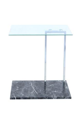 Beistelltisch Couchtisch Glasplatte Eckig Chrome Marmor Fuß Schwarz