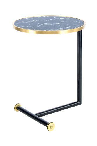 Beistelltisch Ablagetisch Rollbar Metallfuß Glasplatte Marmoriert Schwarz Gold