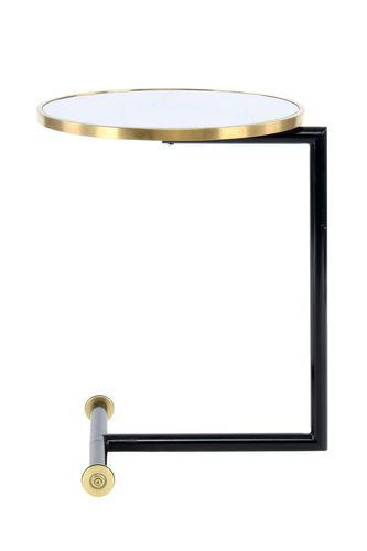 Beistelltisch Ablagetisch Rollbar Metallfuß Glasplatte Marmoriert Weiß Gold Bild 3