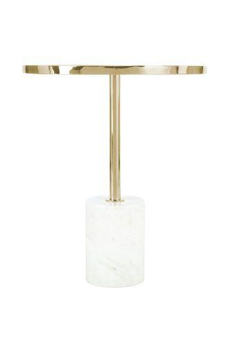 Beistelltisch Ablagetisch Tisch Metallgestell Glasplatte Marmoriert Weiß Gold Bild 2