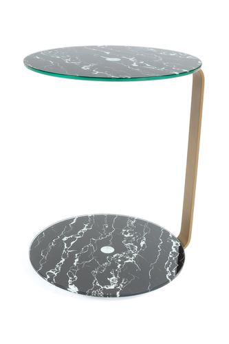 Ablagetisch Beistelltisch Kaffeetisch Marmor Optik Glasplatte Gold Schwarz Bild 2