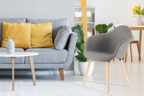 Stuhl 2Er-Set Esszimmerstuhl Elegant Armlehnenstuhl Modern Polsterstuhl Taupe 005