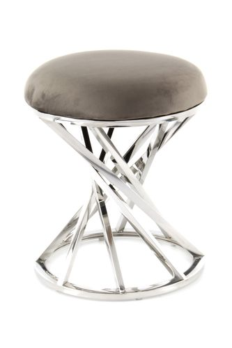 Hocker Chrome Silber Samt Pouf Sitzhocker Retro Modern Taupe Grau 001