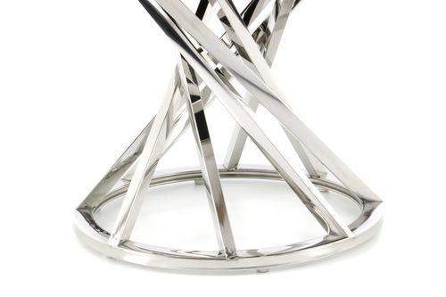 Hocker Chrome Silber Samt Pouf Sitzhocker Retro Modern Taupe Grau 004