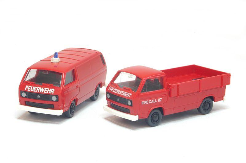 Roco Minitanks H0 629 VW-Transporter-Set T3 US Fire Department Feuerwehr Neu