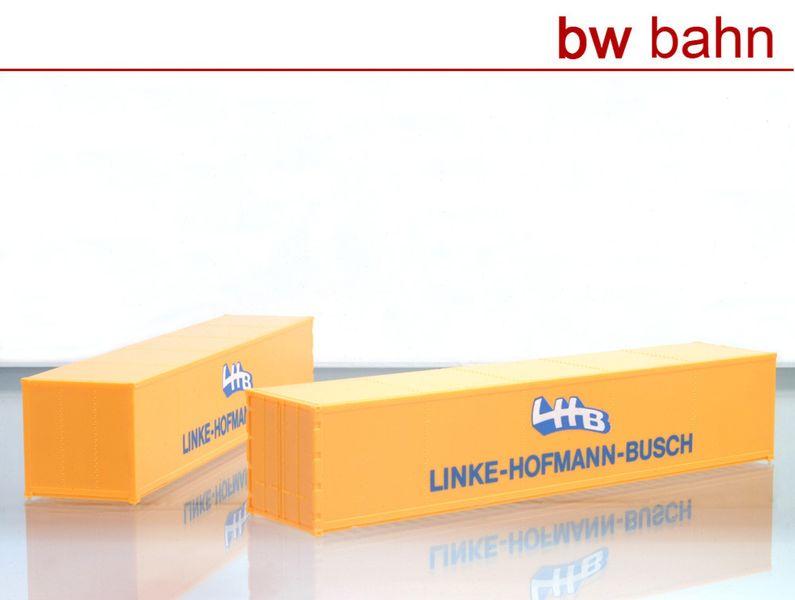 [Paket] Röwa H0 5022 40 Fuss Container Linke-Hofmann-Busch, 2 Stück. Neu