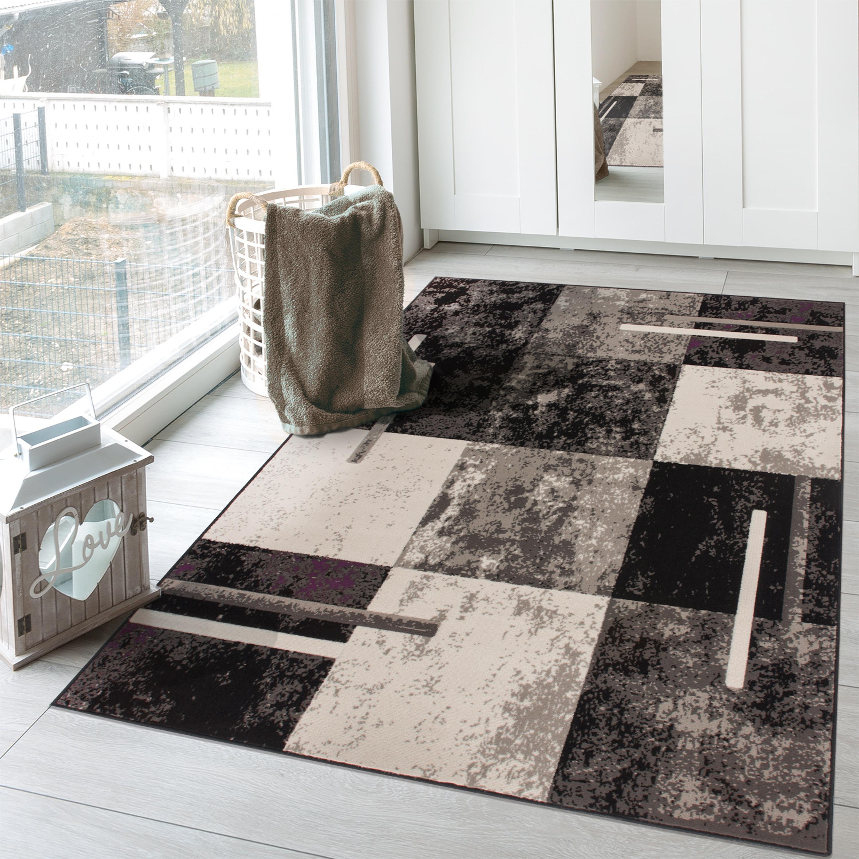 Designer Teppich Kurzflor Modern Wohnzimmer Karo Meliert Lila Grau Neu
