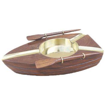 Maritimer Aschenbecher als Ruderboot aus Holz / Messing