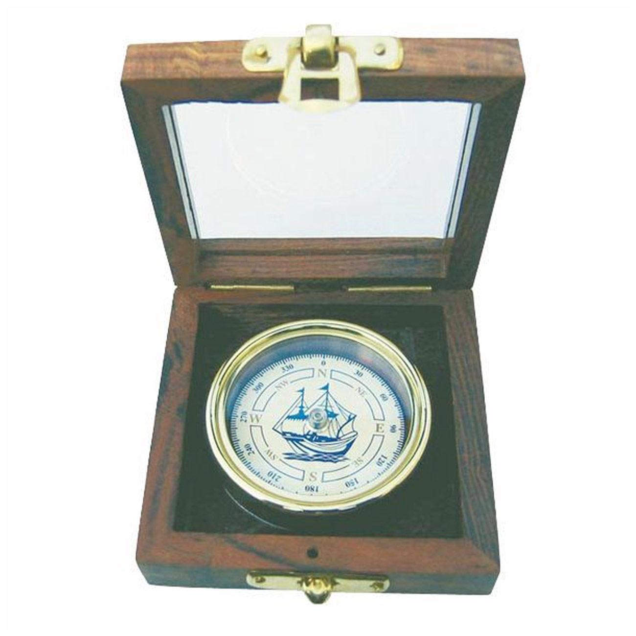 kompass mit schiffs windrose in edler holzbox mit glasdeckel. Black Bedroom Furniture Sets. Home Design Ideas