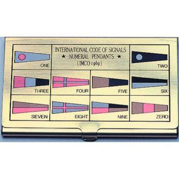 Messing Visitenkartenbox mit Flaggenalphabet im Deckel