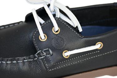 MADSea Waterside Bootsschuhe dunkelblau Leder braune Sohle Deckschuhe – Bild 9