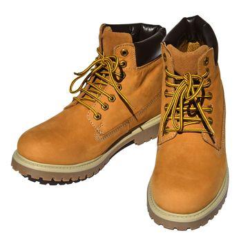 MADSea Damen Herren Leder Schnürstiefel Street Classic Boots gelb – Bild 1