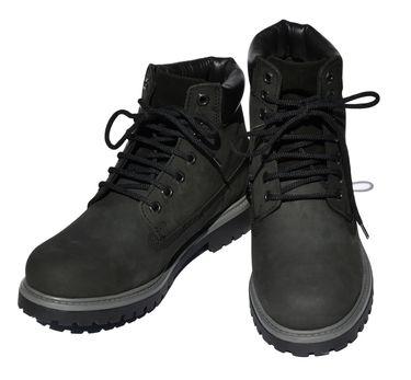 MADSea Damen Herren Leder Schnürstiefel Street Classic Boots schwarz – Bild 1
