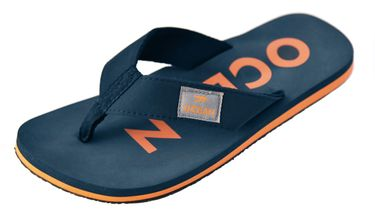 MADSea Damen Herren Zehenstegpantolette Ocean Zehentrenner Sandale dunkelblau orange – Bild 1