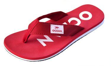 MADSea Damen Herren Zehenstegpantolette Ocean Zehentrenner Sandale rot weiß – Bild 1