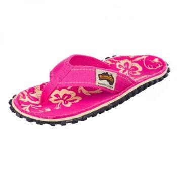 GUMBIES Damen Zehentrenner Pink Hibiskus Zehenstegpantolette  – Bild 2