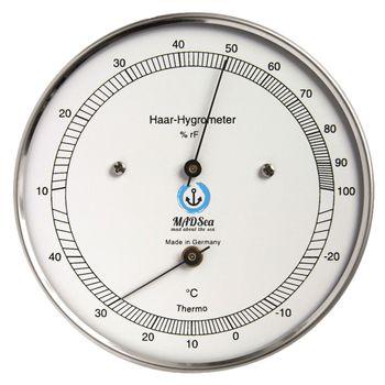 MADSea Edelstahl Haar-Hygrometer Thermometer außen analog Segeln
