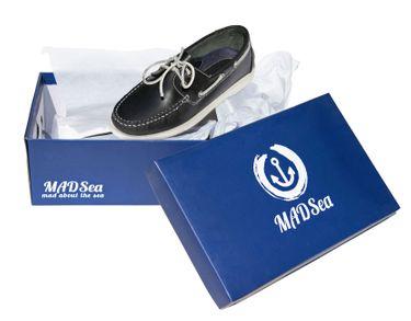 MADSea Herren Leder Bootsschuhe All Summer Deckschuhe dunkelblau weiße Sohle – Bild 9