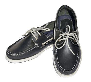 MADSea Herren Leder Bootsschuhe All Summer Deckschuhe dunkelblau weiße Sohle – Bild 1