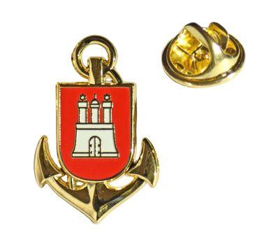 MADSea Motiv Pin Anker mit Hamburg Wappen Anstecknadel