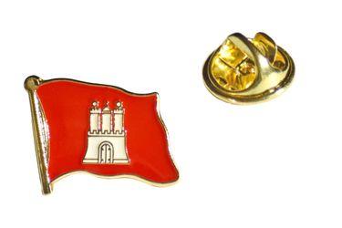 MADSea Flaggen Pin Hamburg Wappen goldfarben Anstecknadel
