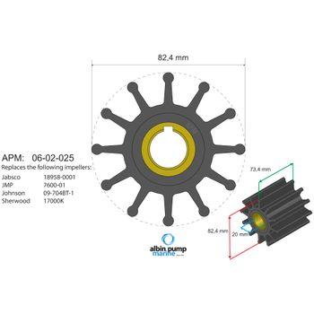 Albin Pump Premium Impeller Laufrad PN 06-02-025 Motor Pumpe Boot – Bild 2