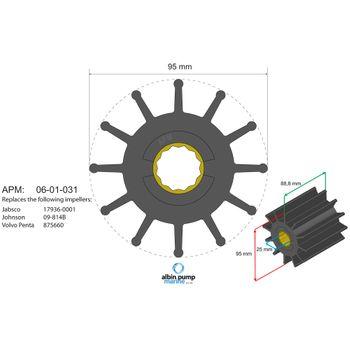 Albin Pump Premium Impeller Laufrad PN 06-02-031 Motor Pumpe Boot – Bild 2