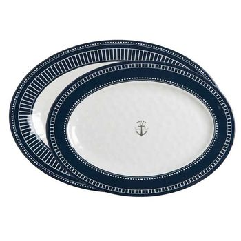 Marine Business Sailor Soul Servierplatten oval Melamin Speiseplatte