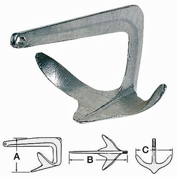 Osculati Trefoil Stahl Anker 10kg - feuerverzinkt