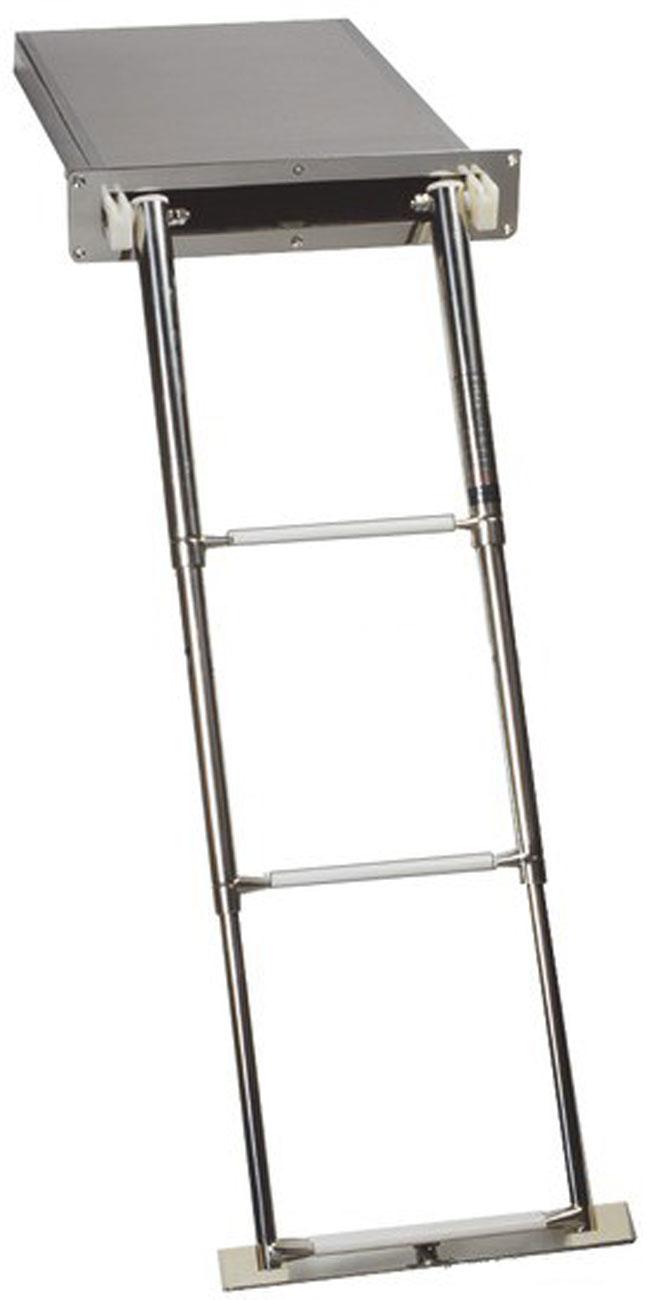 Osculati Edelstahl Teleskop Badeleiter in einer Box erhältlich mit 3 oder 4 Stufen - mit Knapp- oder Handverschluss