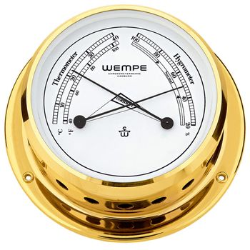 Wempe Messing Comfortmeter Skiff Ø 110mm - Thermometer & Hygrometer