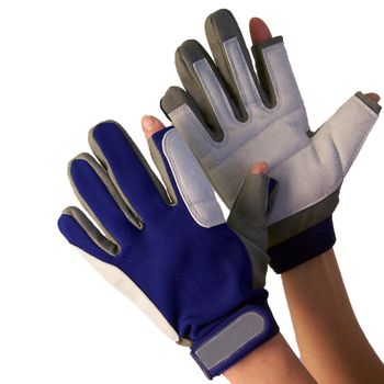 Navyline Sailing Gloves Artificial Leather, 2 finger cut