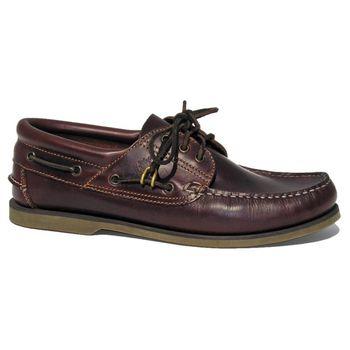 BluePort Herren Bootsschuh Klassik - Comfort Segelschuh in braun mit brauner Sohle