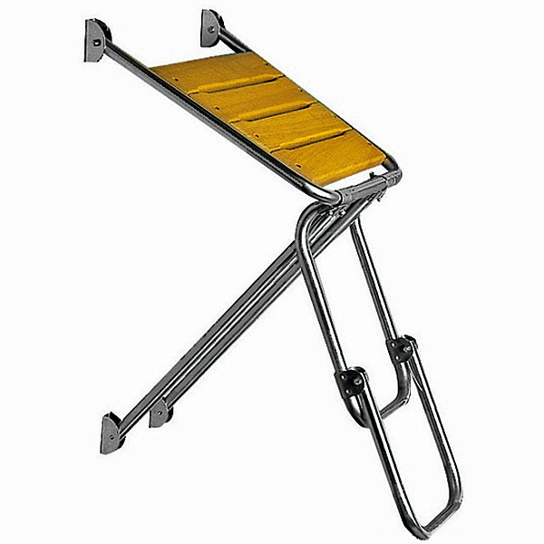 Osculati Edelstahl Seitenplattform 45x45cm mit Iroko Trittfläche & faltbare Leiter