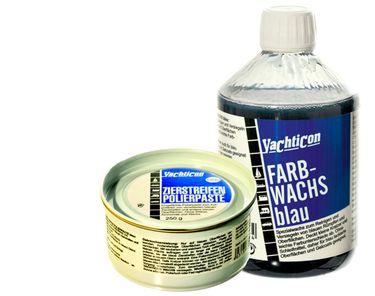 Yachticon Farbwachs GFK blau plus Zierstreifen Polierpaste blau – Bild 1